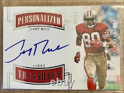 2018 National Treasures Personalized Treasures Jerry Rice On Card Auto 5/10 WOW