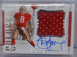 2018 Panini National Treasures Colossal Steve Young Relic ON CARD Auto #09/25