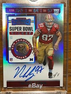 2019 Contenders Nick Bosa Super Bowl Ticket Variation Auto 1/1Monster