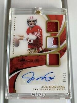 2019 Immaculate 27 Joe Montana Gold Player Collection Jersey Patch Auto Card /10