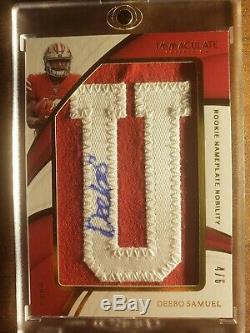 2019 Immaculate Nameplate Deebo Samuel #4/6 RC Auto SSP 49ers Rookie