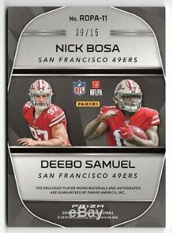 2019 Spectra Nick Bosa / Deebo Samuel Neon Orange Rookie Auto Jersey /15 49ers