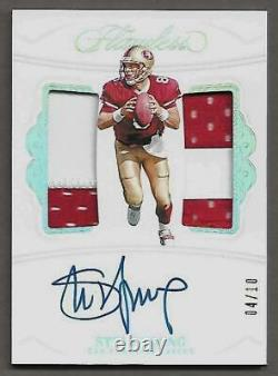 2019 Steve Young FLAWLESS On Card 2 Color Dual Patch Auto # 4/10 49'ers