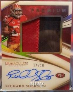 2020 Immaculate RICHARD SHERMAN PREMIUM GOLD 2 Color Patch AUTO 4/10 49ers