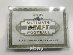 2020 Leaf Ultimate Draft Football Hobby Box 5 Auto Cards Sealed