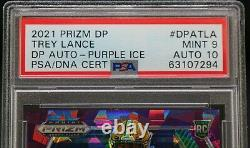 2021 Panini Prizm Draft Picks Trey Lance Purple Ice Auto #/99 PSA 9 POP 1
