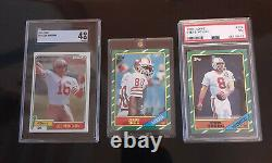 3 card Lot! 1981 Joe Montana RC, 1986 Jerry Rice RC # 161 Mint! And Steve Young