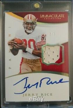 49ERS JERRY RICE 2015 IMMACULATE COLLECTION Auto /5 Game worn jersey 2 color