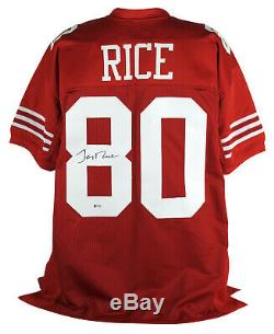 49ers Jerry Rice Authentic Signed Red Jersey Autographed BAS Witnessed