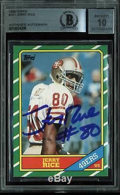 49ers Jerry Rice Signed Card 1986 Topps RC #161 Auto Graded 10! BAS Slabbed
