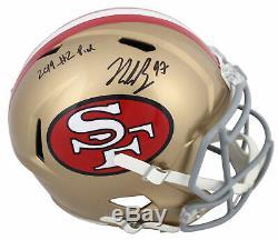 49ers Nick Bosa 2019 #2 Pick Signed Tribute Full Size Speed Rep Helmet BAS