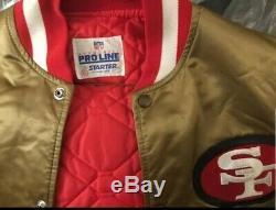 80S Vintage San Francisco 49ers Gold Satin Starter Jacket XL Throwback PRO LINE