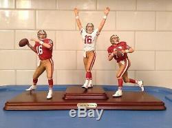 DANBURY MINT SAN FRANCISCO 49ers JOE MONTANA 3 FIGURE SET / GREAT SHAPE