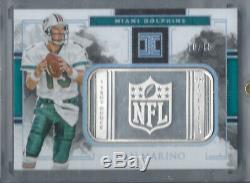 Dan Marino 2018 Impeccable NFL Logo 1 Troy Ounce Silver Bar #/15 Dolphins