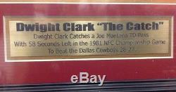 Dwight Clark Signed Autographed & Framed 11x14 Photo With JSA The Catch SF 49ers