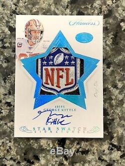 George Kittle FLAWLESS 1/1 NFL Sick Shield Logo Patch Auto 49ers. Read Desc