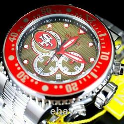 Invicta NFL Grand Pro Diver San Francisco 49ers Steel Chronograph 52mm Watch New