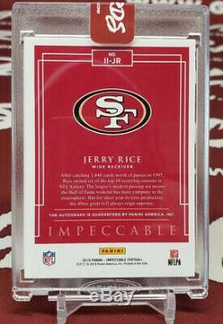 JERRY RICE 2019 IMPECCABLE Immortal Ink AUTO AUTOGRAPH San Francisco 49ers #/10