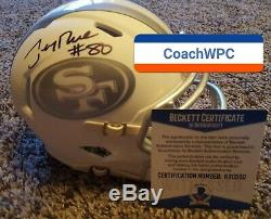 JERRY RICE AUTOGRAPHED 49ERS WHITE ICE SPEED MINI HELMET withBeckett witness cert
