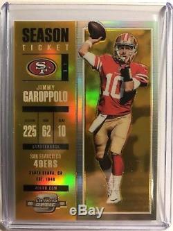 JIMMY GAROPPOLO 2017 Optic Contenders GOLD Season TIcket 1/10 1/1 49ers