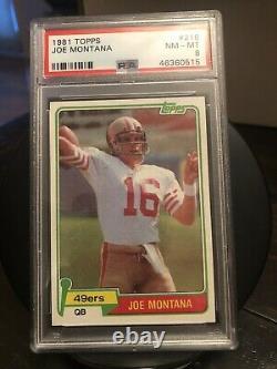 JOE MONTANA 1981 Topps Football Rookie Card RC HOF #216 PSA 8 NM-MT 49ers