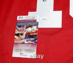 JOE MONTANA San Francisco 49ers Signed Red Football Jersey + JSA Witness COA
