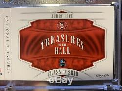 Jerry Rice 1/1 NFL Shield Game Used Jersey Patch 2018 National Treasures HOF