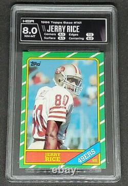 Jerry Rice 1986 Topps #161 San Francisco 49ers Rookie Card RC Graded HGA 8 HOF