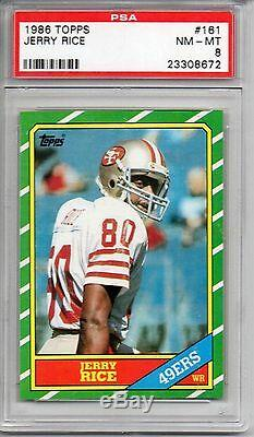 Jerry Rice 49ers HOF 1986 Topps Football #161 Rookie Card rC PSA 8 NM-MT QTY