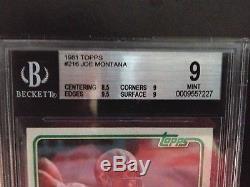 Joe Montana 1981 Topps #216 Rookie Card Graded Bgs Mint 9