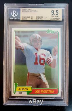 Joe Montana 1981 Topps Rookie Card RC, BGS 9.5 Mint! #216, Quads, PSA 10
