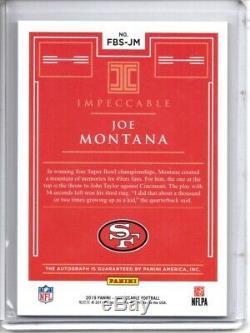 Joe Montana Auto /10 2019 Panini Impeccable First Ballot Signatures Class Of'00
