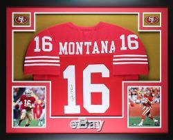 Joe Montana Autographed and Framed 49ers Jersey Auto JSA COA (D1-L)