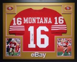 Joe Montana Autographed and Framed Red 49ers Jersey Auto JSA COA (D4-L)