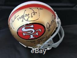 Joe Montana Dwight Clark signed mini helmet autograph Beckett Witnessed I17519