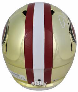 Joe Montana & Jerry Rice Signed In White Full Size Chrome Speed Rep Helmet BAS