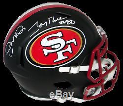 Joe Montana & Jerry Rice Signed San Francisco 49ers Full Size Black Helmet Bas