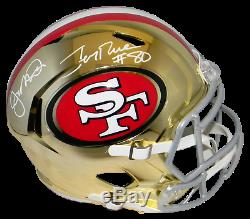 Joe Montana & Jerry Rice Signed San Francisco 49ers Full Size Chrome Helmet Bas