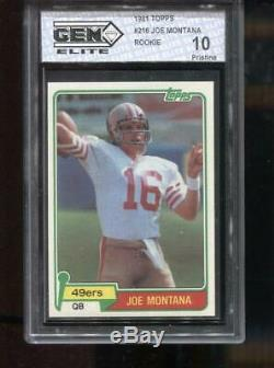Joe Montana Rc 1981 Topps #216 Rookie 49ers San Fransico Gem Elite 10 Pristine