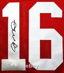 Joe Montana Signed Red San Francisco 49ers Jersey COA JSA Autograph Home