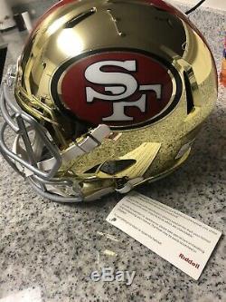 Joe Montana Signed Riddell 49ers Chrome Speed Full Size Replica Helmet