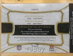 Joe Montana Steve Young Dual Auto Relic Book Card 2013 Supreme 49ers 07/15 Ssp