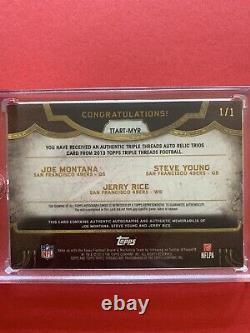 Joe Montana Young Rice 49ers 2013 5 Color Topps Relic Trios 1/1 Auto Autograph