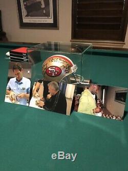 Joe montana, jerry rice, steve young autographed 49ers mini helmet, in case, coa