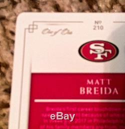 Matt Breida 2017 National Treasures Rookie Laundry Tag 1/1 Plate Autograph 49ers