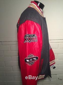 NEW San Francisco 49ERS Super Bowl Champions Leather Vtg Varsity Jacket Large