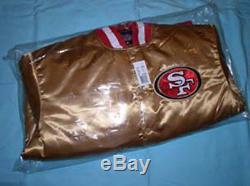 NFL MEN'S SAN FRANCISCO 49ers FORTY NINERS GOLD SATIN MEMORABILIA JACKET NEW WOW