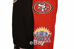 NFL Men's San Francisco 49ers 5 Time Super Bowl Champions Wool Reversible Jacket