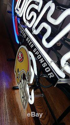 New! Large 28 × 22 BUD LIGHT Official Beer Sponsor SF 49ers Neon Light