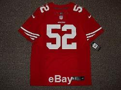 Patrick Willis San Francisco 49ers Red Authentic Nike Elite Jersey sz 44 Mens
